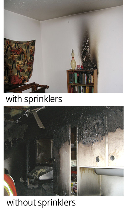 Without Sprinklers, With Sprinklers